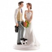 Wedding Couple Football Theme Cake Topper