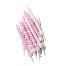 Pink Candy Stripe & Polka Dot Candles Pk/12
