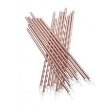 Rose Gold Metallic Candles Extra Tall Pk/16