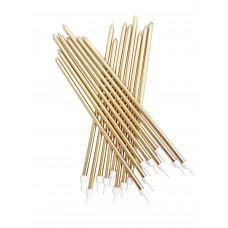 Gold Metallic Candles Extra Tall Pk/16