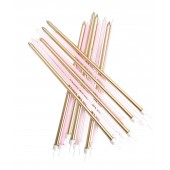 Pastel Pink Metallic Mix Candles Extra Tall Pk/16