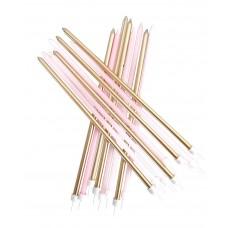 Pastel Pink Metallic Mix Candles Extra Tall Pk/16