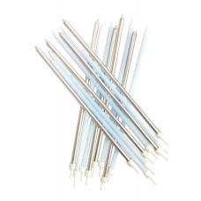 Pastel Blue Metallic Mix Candles Extra Tall Pk/16