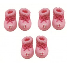Pink Booties Sugarcraft Toppers Pk/3 Pairs