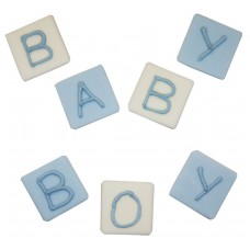 Blue Baby Block Sugarcraft Toppers Pk/5