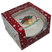 "6"" Christmas Snowflakes Cake Box 4"" High"