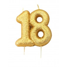 '18' Gold Glitter Candle