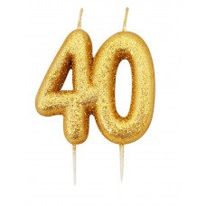 '40' Gold Glitter Candle