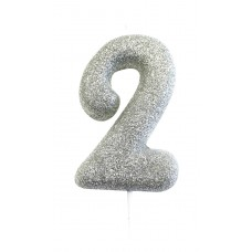 '2' Silver Glitter Candle