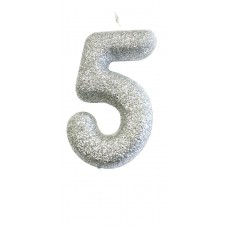 '5' Silver Glitter Candle