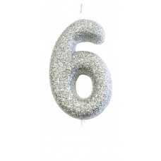 '6' Silver Glitter Candle
