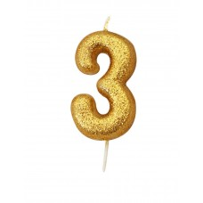 '3' Gold Glitter Candle