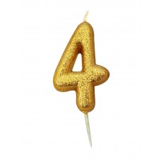 '4' Gold Glitter Candle