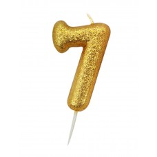 '7' Gold Glitter Candle