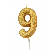 '9' Gold Glitter Candle