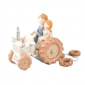 Bride & Groom Ivory Tractor Cake Topper