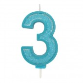 Blue Sparkle '3' Candle
