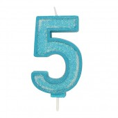 Blue Sparkle '5' Candle