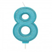 Blue Sparkle '8' Candle