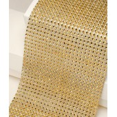 12cm Wide Gold Diamante Ribbon 1y