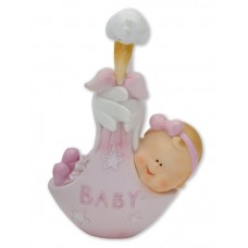 Pink Baby with Stork Cake Topper