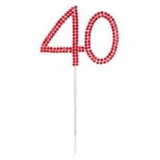 Red Diamante '40' Topper