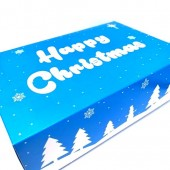 Blue Happy Christmas Cupcake Boxes 6's