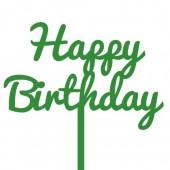 Green Happy Birthday Cake Topper - Acrylic
