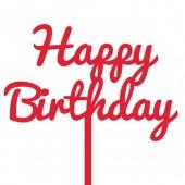 Red Happy Birthday Cake Topper - Acrylic