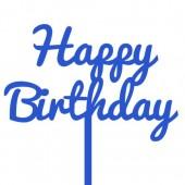 Blue Happy Birthday Cake Topper - Acrylic