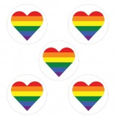"""Rainbow Hearts Cupcake Toppers - 15 x 2"""""""