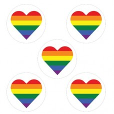 Rainbow Hearts Cupcake Toppers - 15 x 2""