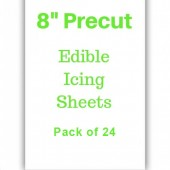 "8"" Precut  Edible Icing Sheets Pk/24"