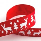 15mm Stag Christmas Red Ribbon - 5m Roll