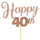 Rose Gold Glitter Happy 40th Cake Topper - Card