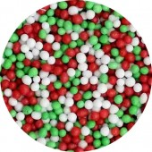Matt Red, Green & White Mini Pearls 80g