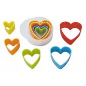 Heart Coloured Cookie Cutters Set/5