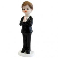Praying Boy in Black Suit Standing