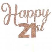 Rose Gold Glitter Happy 21st Cake Topper - Card