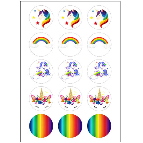 Rainbow Unicorn Cupcake Toppers 15 X 2 Quot
