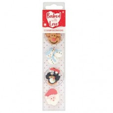 Baked with Love Sugar Pipings- Christmas Friends Pk/12