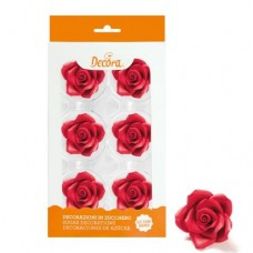 Decora 50mm Red Roses Pk/6