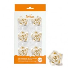 Decora 50mm White Roses Pk/6