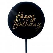 Black & Gold Happy Birthday Paddle - Acrylic