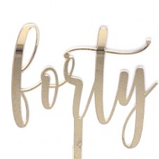 Gold Forty Cake Topper - Mirror Acrylic
