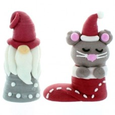 Bulk 3D Tomtee & Mouse Christmas Cake Toppers Box/10
