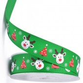 Green Reindeer & Christmas Tree Ribbon 25mm