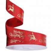 Gold Stag & Merry Christmas Ribbon 25mm