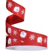 Santa & Snowflake Ribbon 25mm