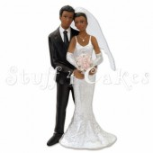 Black Bride & Groom Cake Topper Design 1
